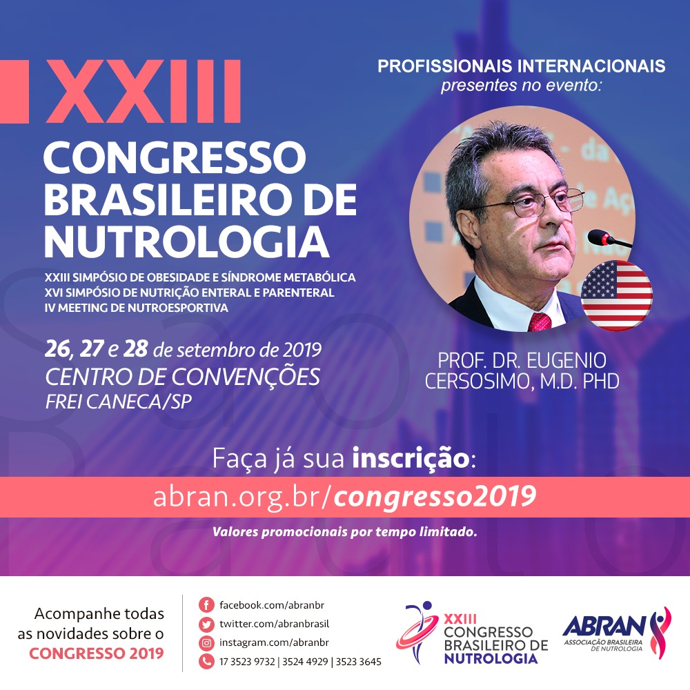 Diretor do Instituto de Diabetes do Texas (EUA), participa do XXIII Congresso Brasileiro de Nutrologia
